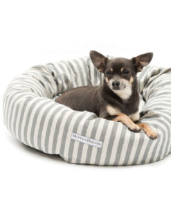 Grey Striped Brushed Cotton Donut Dog Bed