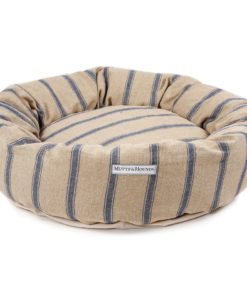 Navy and Beige Stripe Donut Bed