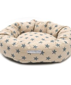 Navy Star and Cream Donut Dog Bed. Luxury dog beds