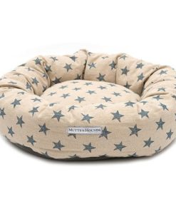 Navy Star and Cream Donut Dog Bed