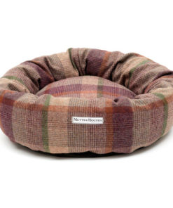 Damson Check Tweed Donut Dog Bed. Luxury dog beds