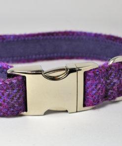 Purple tweed designer dog collar