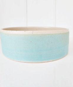 Turquoise handmade straight sided pottery dog bowl