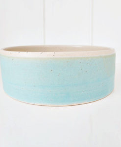 Turquoise handmade straight sided pottery dog bowl
