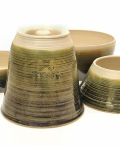 Sage green handmade straight sided pottery dog range