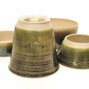 Sage green handmade straight sided pottery dog range