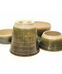 Sage Green Handmade Spaniel Dog Bowl