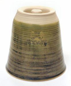 Sage green handmade straight sided pottery dog treat jar