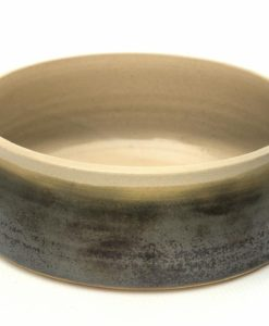 Sage green handmade straight sided pottery dog bowl