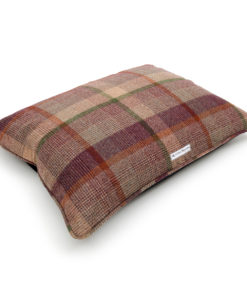 Grape checked tweed dog pillow bed