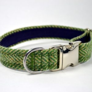 Green Herringbone Harris tweed designer dog collar