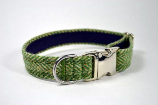 Green Herringbone Harris tweed designer dog collar