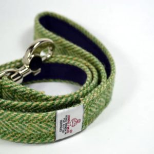 Green herringbone Harris tweed dog lead