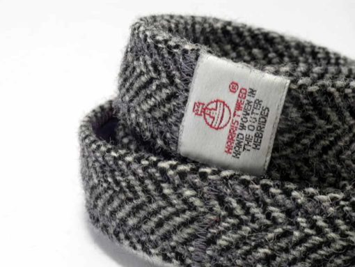 Grey Harris tweed dog lead