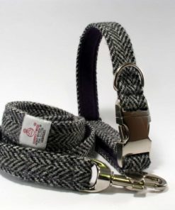Grey herringbone Tweed Dog Collar. Luxury dog collars