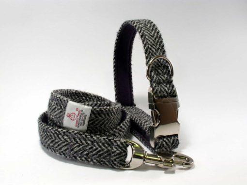 Grey herringbone Tweed Dog Collar. Luxury dog collars