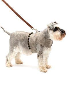 Grey Tweed Soft Harness with Pom Poms
