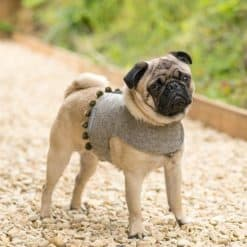 Grey Tweed Soft Harness with Pom Poms