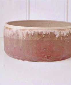 Autumn orange handmade straight sided pottery dog bowl
