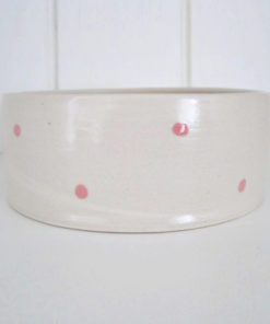 Pink spotty handmade straight sided pottery dog bowl
