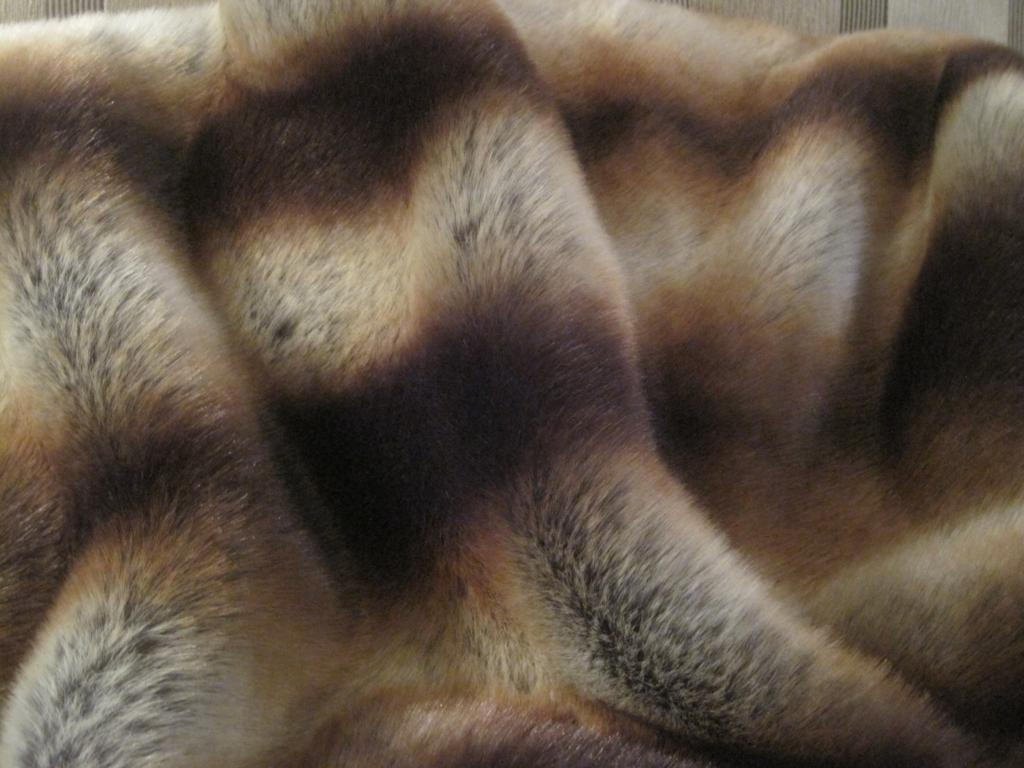 Chocolate stripes faux fur throw