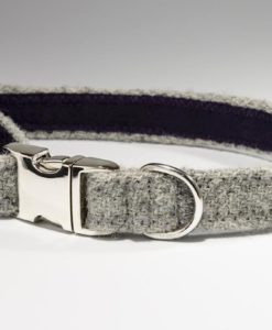 Dove Grey Harris tweed designer dog collar