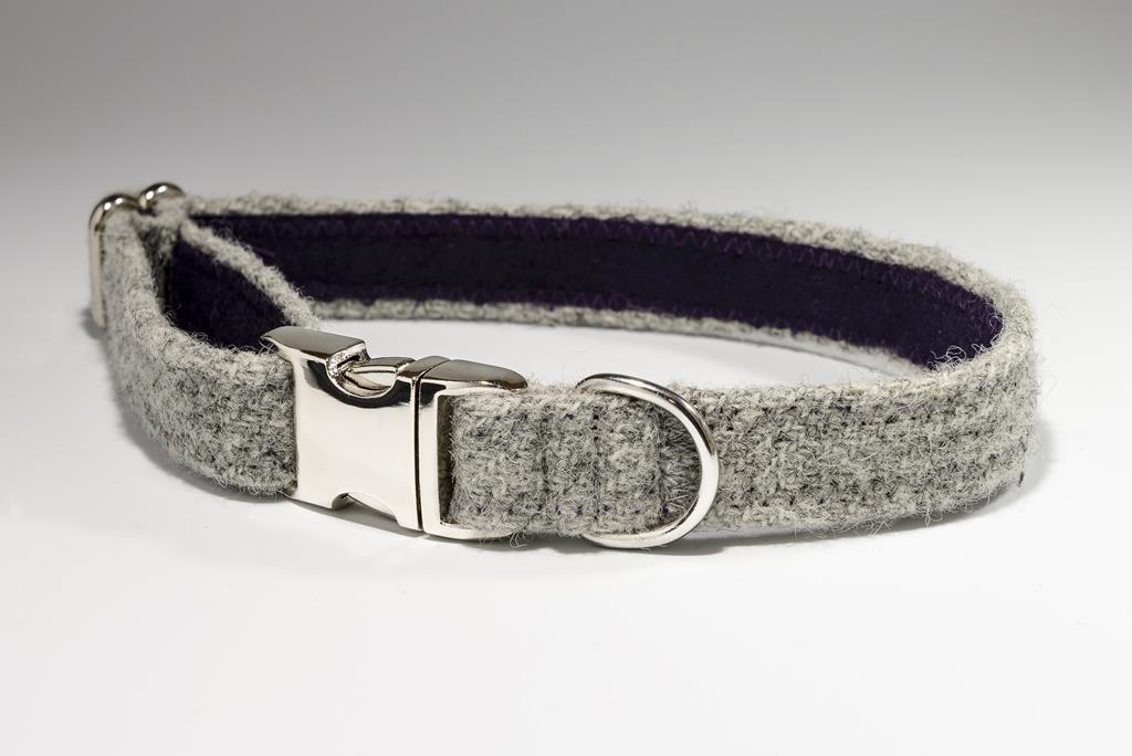 43a9feadca0 Dove Grey Harris Tweed Designer Dog Collar