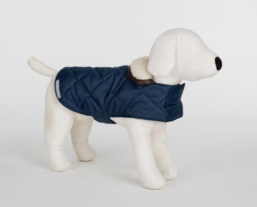 Navy Blue Quilted Dog Coat