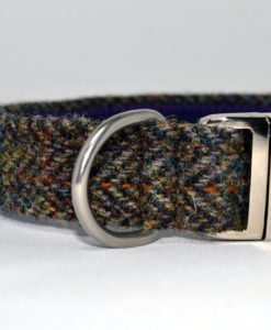 Brown herringbone tweed designer dog collar