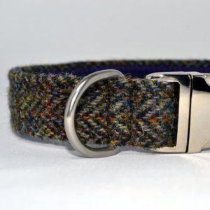 Brown herringbone tweed designer dog collar
