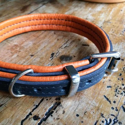 Navy and orange leather dog collar. Luxury leather dog collars