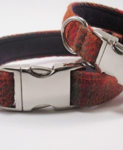 Orange & Olive Harris tweed designer dog collar