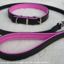 Black and pink leather dog lead