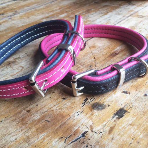 Pink and navy blue padded leather dog collar