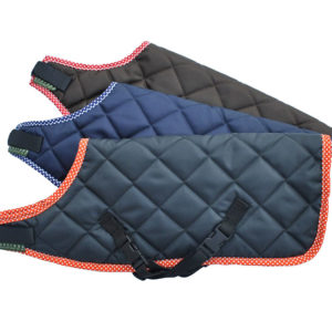 handmade quilted dog coats in grey, navy blue and brown