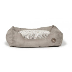 Artic snuggle bolster faux suede dog bed