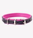 Handmade brown and pink green designer leather dog collar