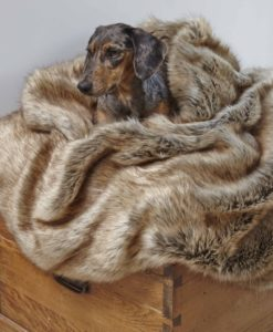 Golden Husky Faux Fur Dog Blanket