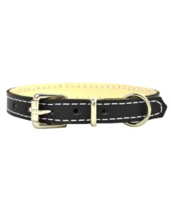 Soft cowhide puppy leather collar . Luxury leather puppy collar