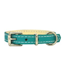 Jade green soft cowhide puppy leather collar . Luxury leather puppy collar