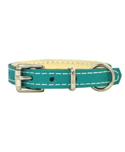 Jade green soft cowhide puppy leather collar