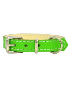 Lime green soft cowhide puppy leather collar