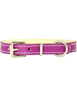 Magenta pink soft cowhide . Luxury leather puppy collar