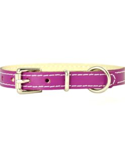 Magenta pink soft cowhide puppy leather collar