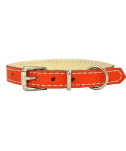 Red soft cowhide puppy leather collar . Luxury leather puppy collar