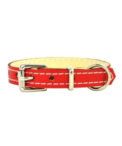 Ruby red soft cowhide puppy leather collar . Luxury leather puppy collar