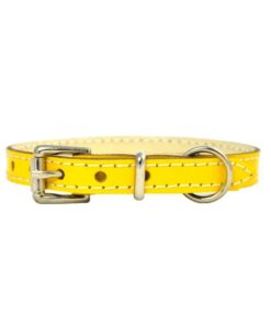 Yellow soft cowhide puppy leather collar . Luxury leather puppy collar