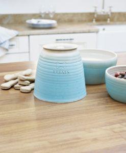 Turquoise blue handmade straight sided pottery dog range