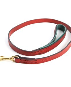 Rose & Navy Padded Leather Dog Collar
