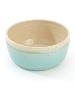 turquoise blue handmade round pottery dog feeding bowl